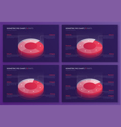 set of isometric pie chart designs modern vector image