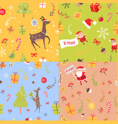 set seamless patterns with christmas elements vector image