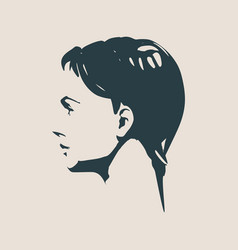 silhouette of a female head face side view vector image