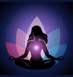 Silhouette woman in yoga lotus pose vector