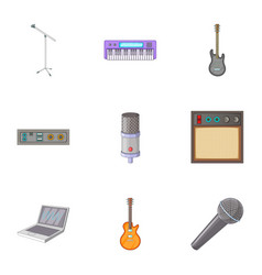 Sound recording studio icons set cartoon style vector