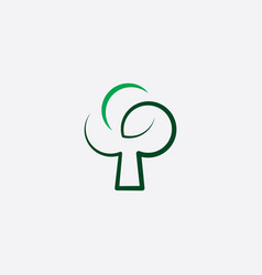 stylized green tree icon vector image