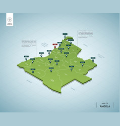 Stylized map angola isometric 3d green map vector