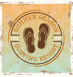 surfing colored vintage emblem with flip flops vector image