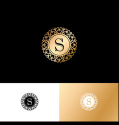 T gold letter monogram gold circle lace ornament vector