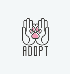 Thin line of adopt pet banner vector