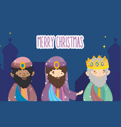 three wise characters manger nativity merry vector image