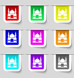 Turkish architecture mosque icon sign Set of vector image