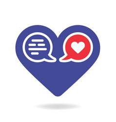 valentine blue heart solid icon with two chat vector image