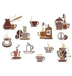 Various coffee icons vector image