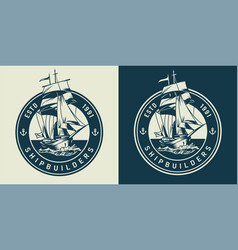 Vintage marine and sea emblem vector