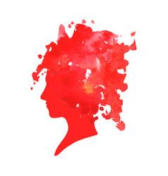 Watercolor profile a woman vector