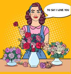 Woman florist making bunch flowers pop art vector