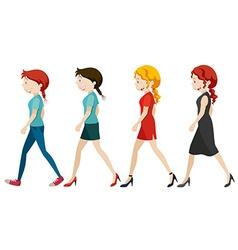 Women walking on white background vector