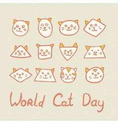 World Cat Day Card with cat muzzles on textured vector