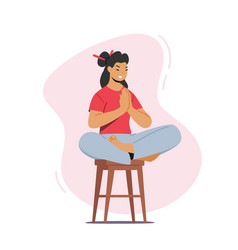 Yoga relaxation tranquil woman meditating female vector