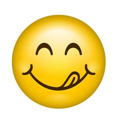 yummy smile cartoon line emoticon lick lips vector image