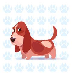 dog basset hound happy cartoon sitting over vector image