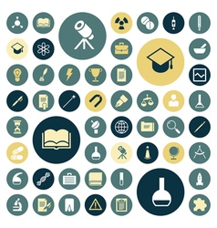 Flat design icons for education science and medica vector image vector image