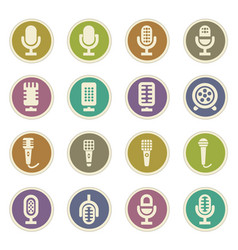 microphone icons set vector image vector image