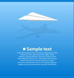 paper airplane with the shadow vector image vector image