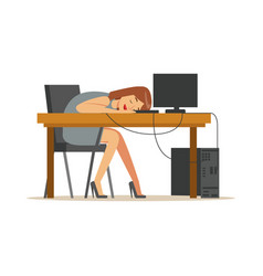 tired businesswoman sleeping at workplace on vector image vector image