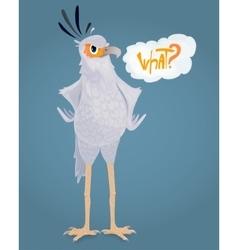 Cartoon Angry secretary bird Ask a question It vector image vector image