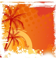Grunge backgound with palm trees vector image vector image