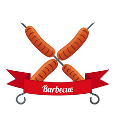 sausage logo label for menu flat style vector image