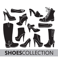 Shoes silhouettes collection vector image