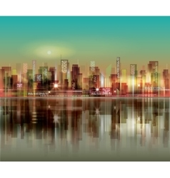abstract night background with silhouette of city vector image