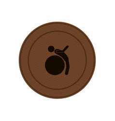 brown circular frame with training in gym ball vector image vector image