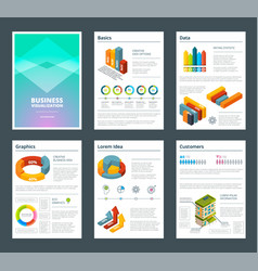 design of annual reports with colored pictures of vector image