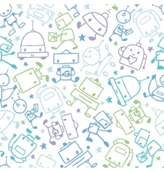 Fun doodle robots seamless pattern background vector image