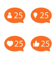 Like Counter Notification Icon set vector image