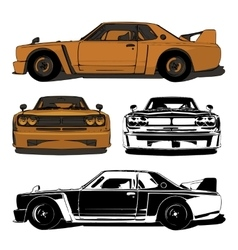 Old sports car set vector image
