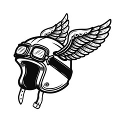 racer helmet with wings isolated on white vector image