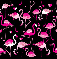 seamless pattern from pink flamingos vector image