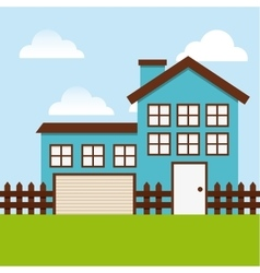Beautiful house exterior icon vector
