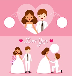 Black Skin Bride And Groom In Wedding Clothing Set vector image vector image
