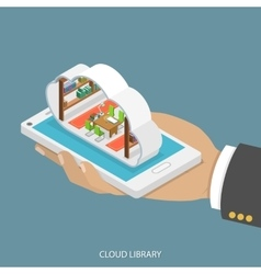 Cloud library flat isometric concept vector image