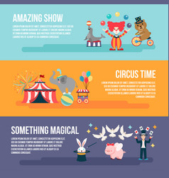 Flat set of card circus people animals elements vector