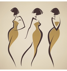 girls in retro style vector image