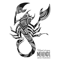 Hand-drawn mehendi scorpion ethnic african vector