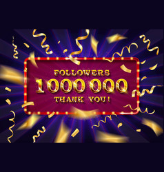 1 million followers thank you gold vector image