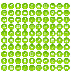 100 mirror icons set green circle vector