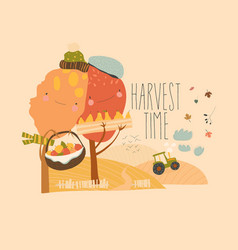 Agricultural autumn landscapes with tractor hay vector