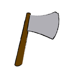 Ax with wooden handle steel weapon vector