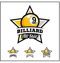Billiard 9 ball all star badge logo vector