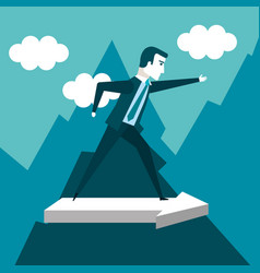 business man climbing on mountain with arrow going vector image
